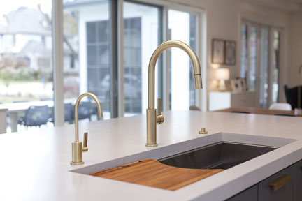 Satin Brass (PVD) finish on Corsano Series kitchen faucets