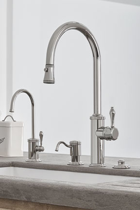 Davoli Pull-Down Kitchen Faucet Ensemble with 42 Series standard lever, in Polished Nickel (PVD) finish