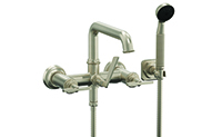 Steampunk Bay™ Wall Mount Tub Filler Low Spout - Blade Handles