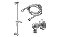 Belmont Slide Bar Handshower Kit - Porcelain Lever Handle with Line Base